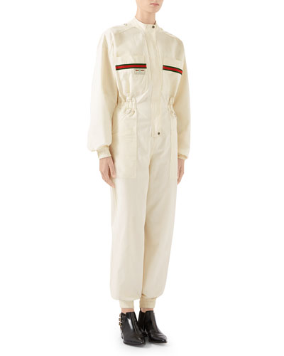 Long-Sleeve Cotton Panama Jumpsuit