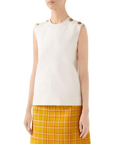 Diagonal GG-Striped Wool-Silk Top
