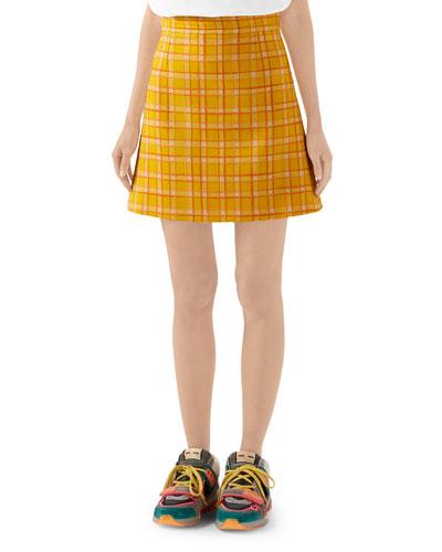 Checked Wool Tweed Mini Skirt