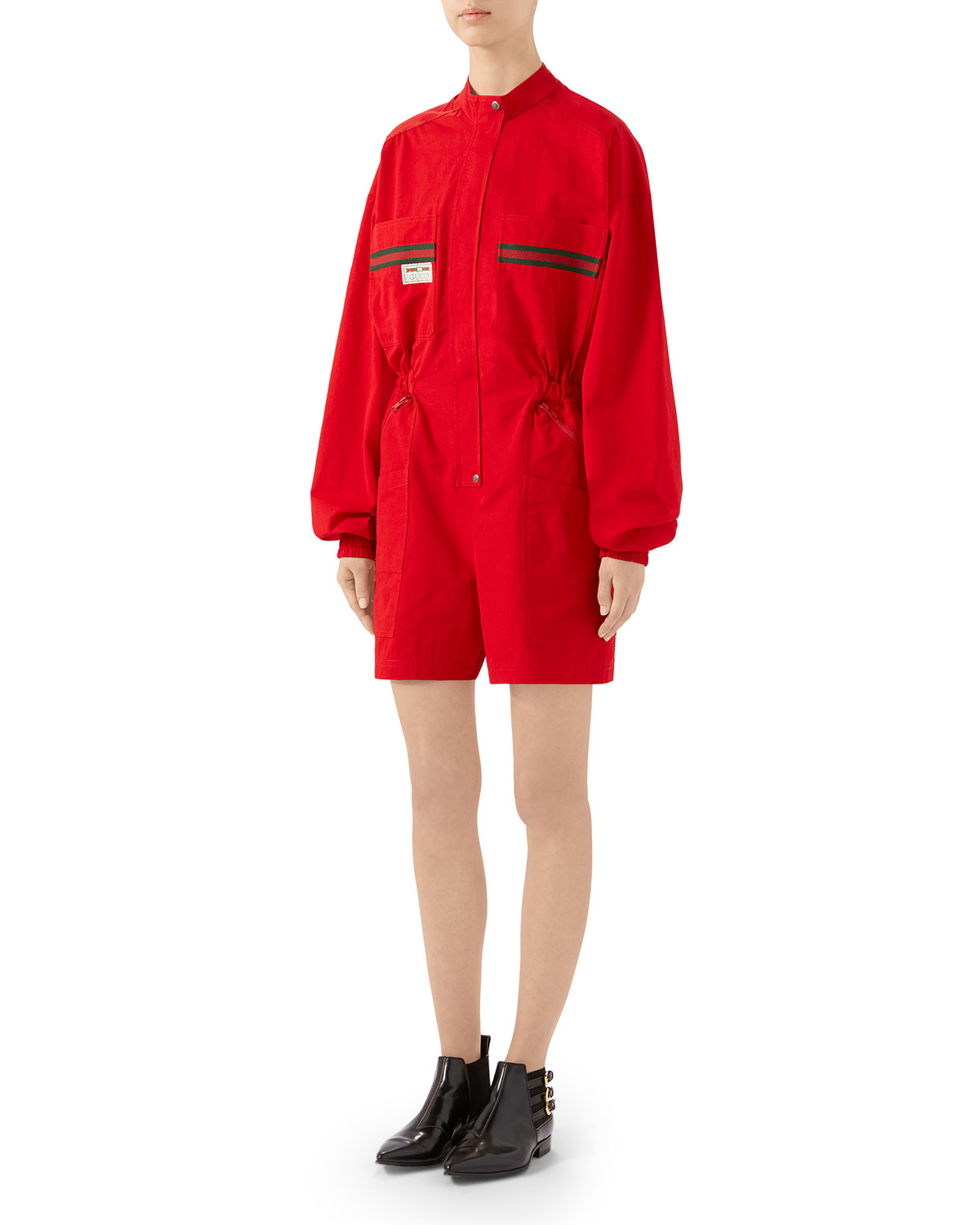 Gucci Tops LONG-SLEEVE COTTON PANAMA ROMPER