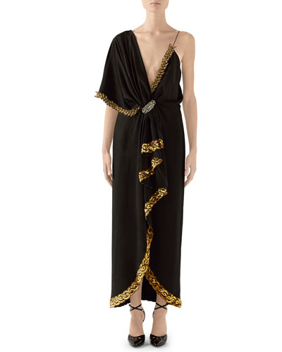 Naomi Embroidered Asymmetric Silk/Viscose Dress