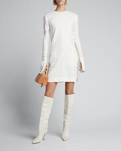 Creased Long-Sleeve Dress