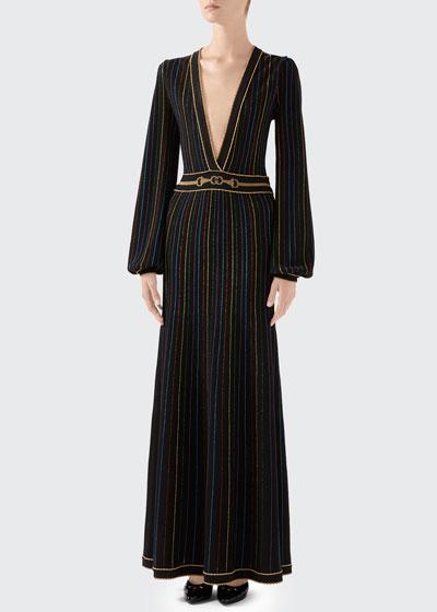 Long Blouson-Sleeve Knit Deep V-neck Lame Stripe Long Dress