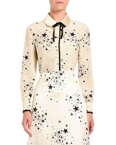 Star-Print Silk Button-Front Blouse