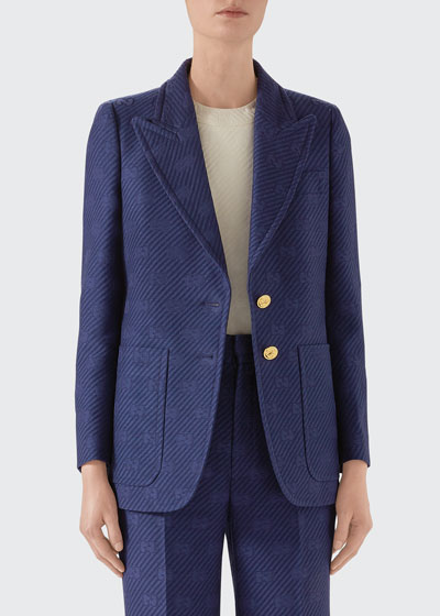 Wool-Silk Diagonal GG Jacket with Script at Back