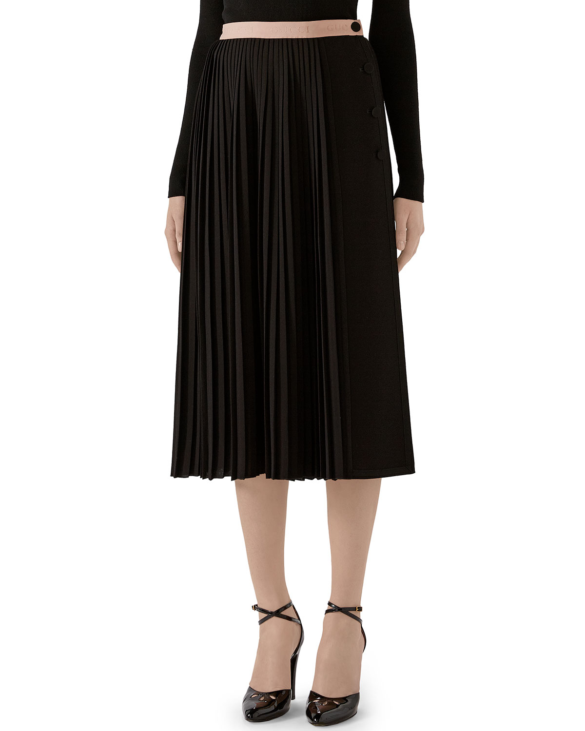 Gucci Skirts PLEATED WRAP SKIRT WITH LOGO WAISTBAND