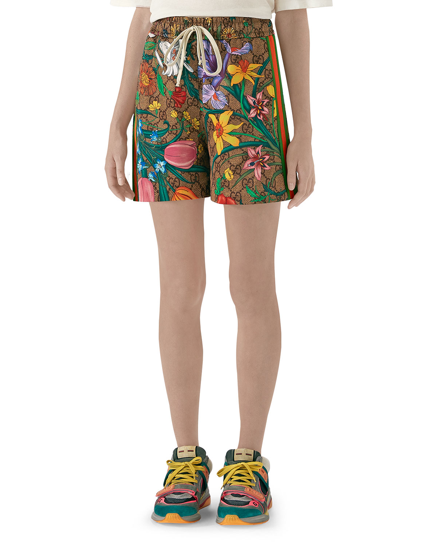 Gucci Shorts DRAWSTRING FLORA JERSEY GG SHORTS