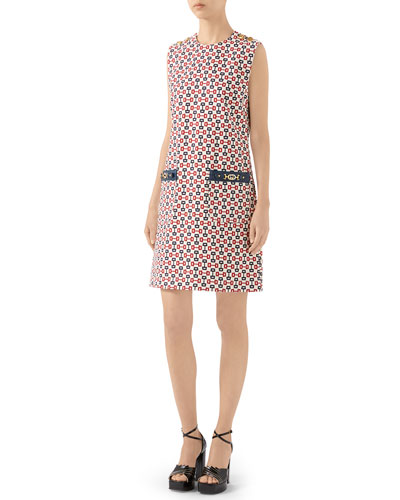 Sleeveless Printed Cotton Canvas Chain Print Dress With Leather Details