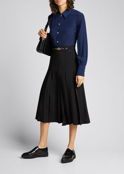 Viscose Cady Pleated Skirt with Horsebit Detail