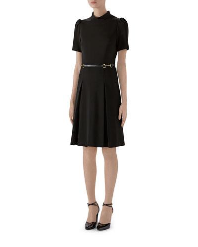 Puff-Sleeve Jersey Dress With Horsebit Detail