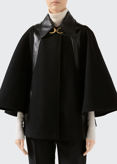 Military Cloth Cape Jacket With Leather Details And Horsebit Detail