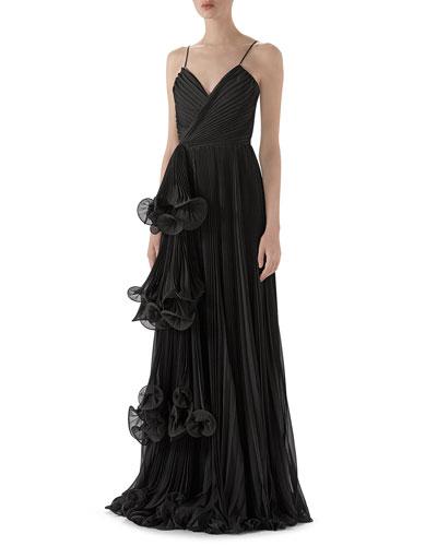 Light Silk Georgette Plisse Gown