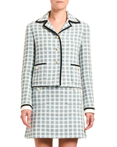 Plaid Tweed Pearly-Button Front Jacket