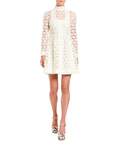 Crocheted Mock-Neck Dress