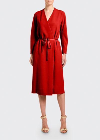 Crepe Long-Sleeve Wrap Dress