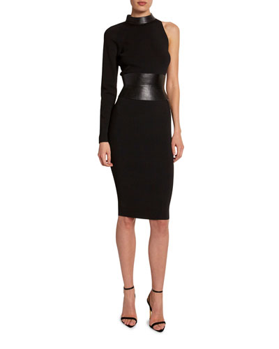 One-Sleeve Bodycon Dress with Leather Belt
