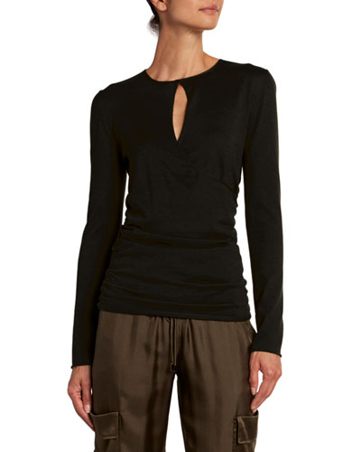 Fine Cashmere-Silk Wrapped Keyhole Top
