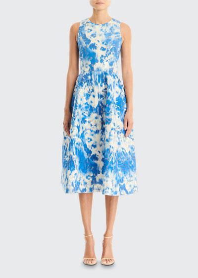 Tie-Dye Printed Sleeveless A-Line Midi Dress
