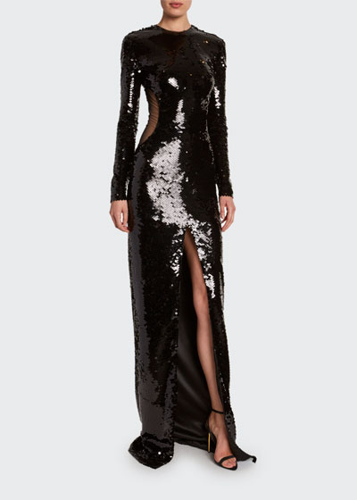 Sequined Cutout-Illusion Evening Gown