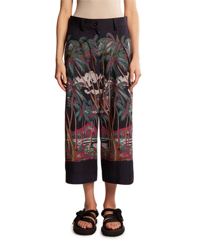 Palm-Print Silk Twill Cropped Pants