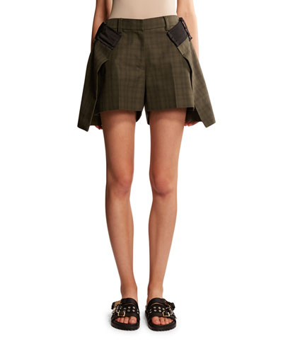 Glen-Checked Asymmetric Layered Shorts