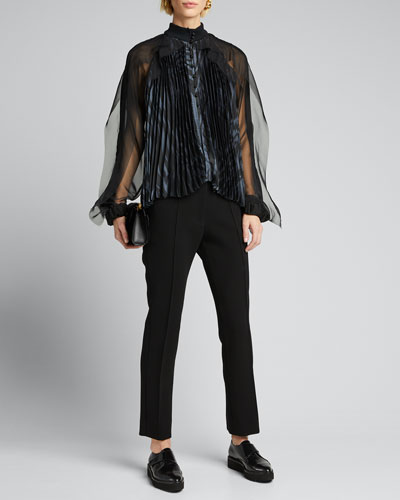 Zebra-Print Pleated Tulle Blouse