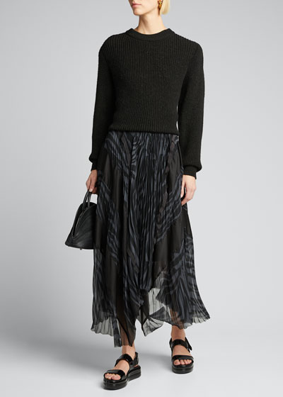 Zebra-Print Pleated Wrap Skirt