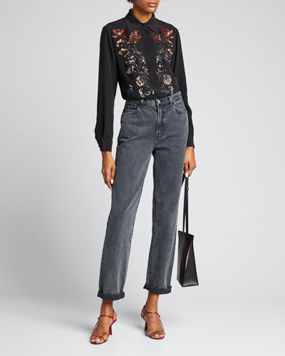 Floral-Sequined Silk Evening Blouse