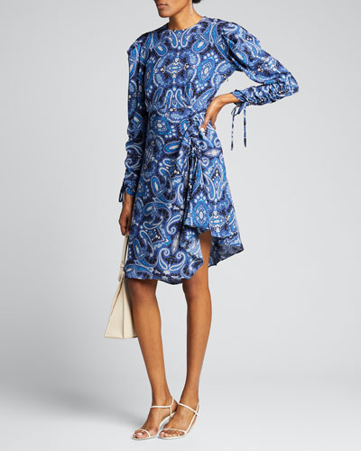 Blue Paisley Swirl Print Drawstring-Sleeve Dress