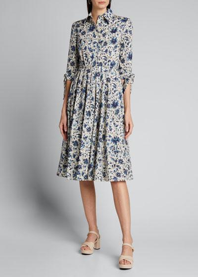 Cotton Poplin 3/4-Sleeve Shirtdress