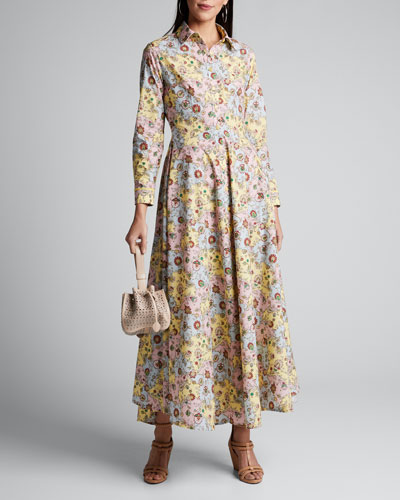 Blossom Long-Sleeve Floral-Print Shirtdress