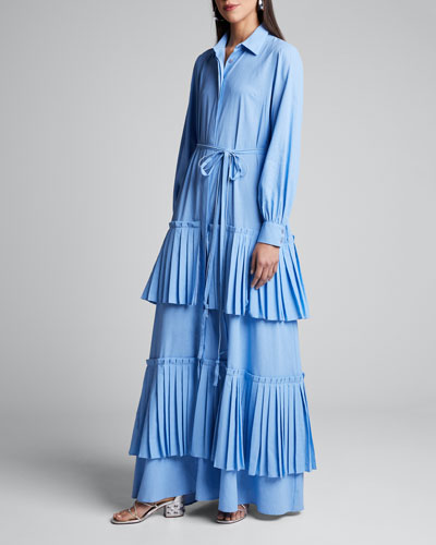 Hydrangea Tiered-Pleated Shirtdress