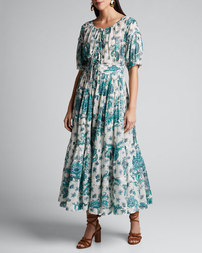 Rosemary Floral-Print Tiered Poplin Dress