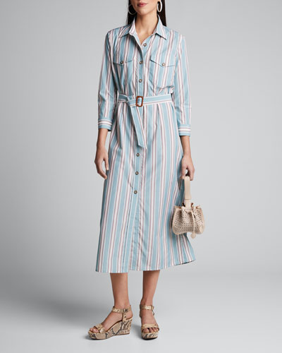 Laurel Striped Bracelet-Sleeve Shirtdress