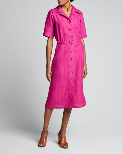 Linen Midi Belted Shirtdress