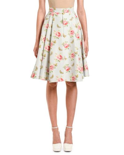 Rose & Butterfly Print Faille Skirt