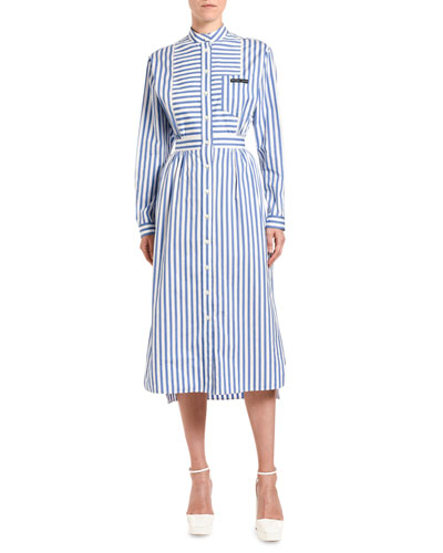 Patchwork-Striped Poplin Shirtdress