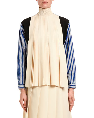 Pleated Patchwork Turtleneck Blouse