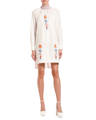 Edelweiss-Embroidered Poplin Tunic Dress