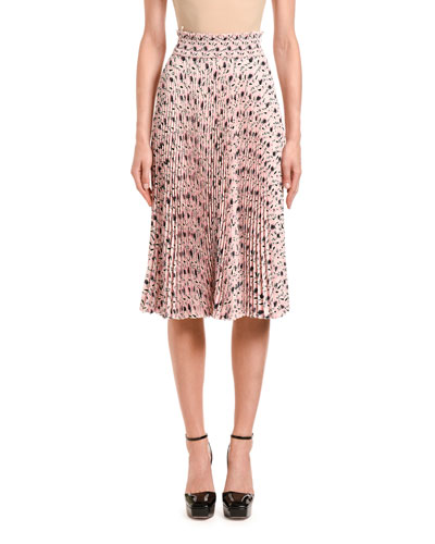 Leaf-Print Pleated Midi Skirt