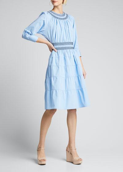 Compact Poplin Smocked Tiered-Skirt Dress