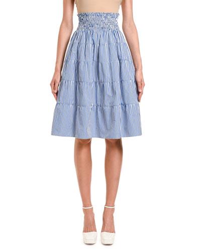 Fantasia Striped Smocked-Waist Tiered Skirt