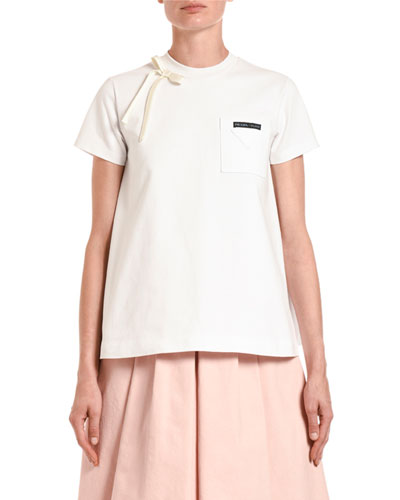 Satin-Bowed Short-Sleeve Jersey Tee