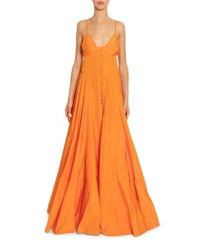 La Manosque Sleeveless Button-Front Tiered Dress