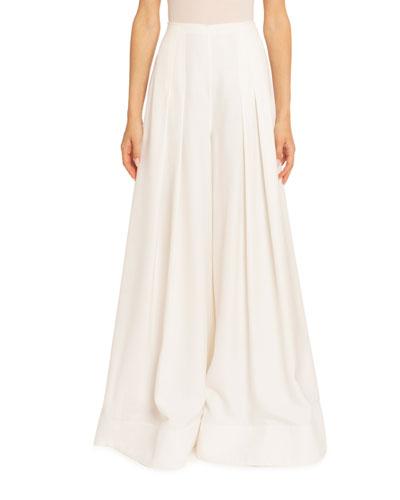 Le Arcello Skirt-Leg Pants, White