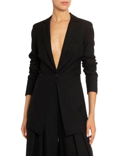 Crepe Longline Blazer Jacket