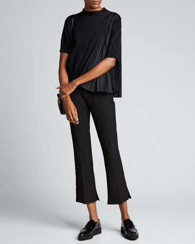 Pleated-Side Crop Sweater