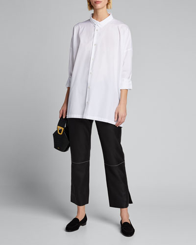 Poplin Double-Collar Wide A-Line Shirt