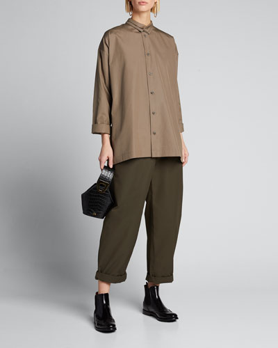 Poplin Double-Collar Slim A-Line Shirt