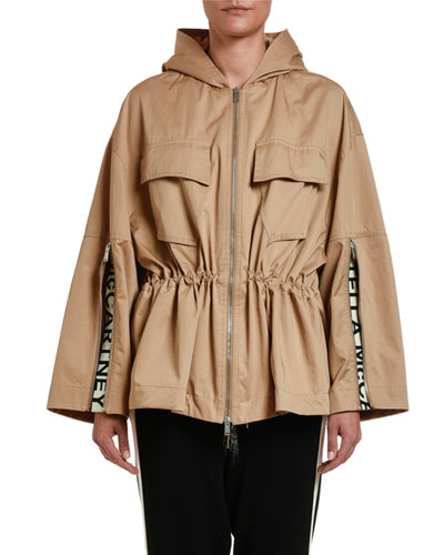 Drawstring-Waist Cropped Trench Jacket